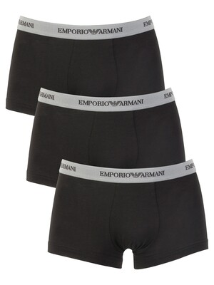 Emporio Armani Black 3 Pack Stretch Cotton Trunks
