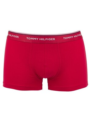Tommy Hilfiger 3 Pack Premium Essential Trunks - White/Tango/Peacoat
