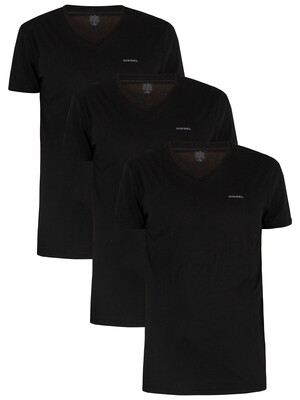 Diesel Black 3 Pack Jake Plain Logo V-Neck T-Shirts