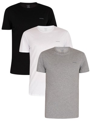 Diesel White/Black/Grey Marl 3 Pack Jake Plain Logo T-Shirts