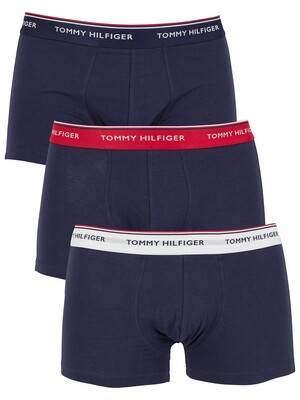 Tommy Hilfiger 3 Pack Cotton Stretch Logo Trunks - Multi/Peacoat