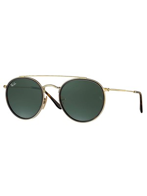 Ray-Ban Round Double Bridge Metal Sunglasses - Black/Gold