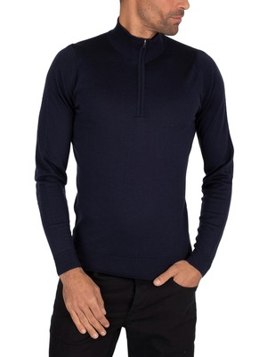 John Smedley Midnight Barrow Longsleeved Zip Knit