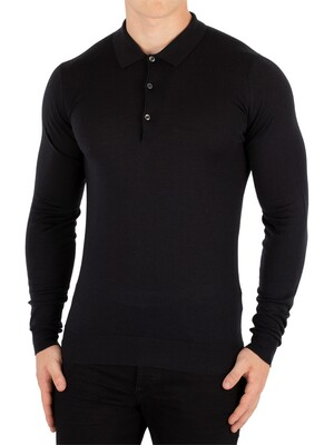 John Smedley Black Belper Longsleeved Polo Shirt Knit