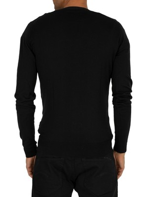 John Smedley Black Petworth Longsleeved V-Neck Cardigan