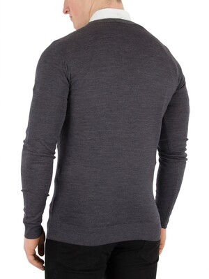 John Smedley Charcoal Petworth Longsleeved V-Neck Cardigan