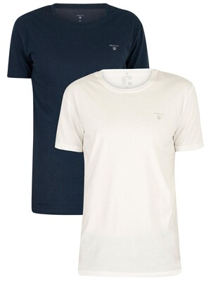 Gant White/Navy 2-Pack Crew Neck T-Shirt