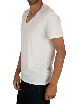 G-Star White Solid 2 Pack V-Neck Logo T-Shirts