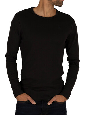 G-Star Longsleeved Crew Logo T-shirt - Black