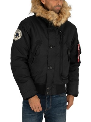Alpha Industries Fur Hooded Polar Jacket - Black