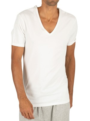 Calvin Klein 2 Pack ID V-Neck Slim T-Shirts - White