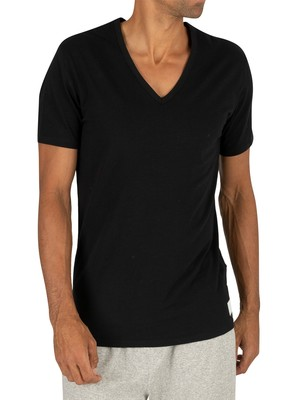 Calvin Klein 2 Pack ID V-Neck Slim T-Shirts - Black