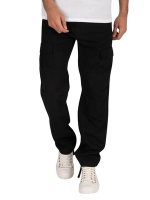 Carhartt WIP Aviation Slim Fit Cargos - Black Rinsed