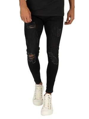Sik Silk Skinny Distressed Denim Jeans - Washed Black
