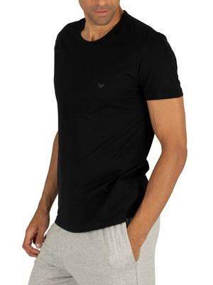 Emporio Armani 2 Pack Pure Cotton Lounge T-Shirts - Black