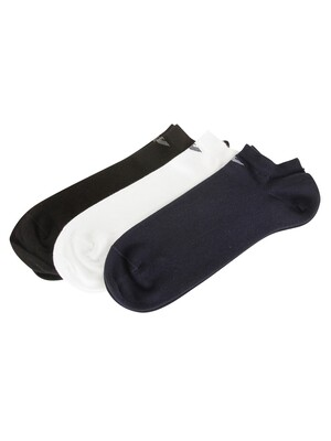 Emporio Armani 3 Pack Cotton Inside Socks - Black/White/Navy
