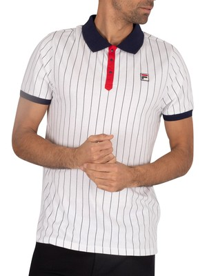 Fila BB1 Vintage Striped Polo Shirt - White/Navy/Chinese Red