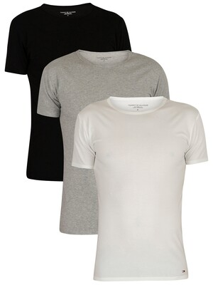 Tommy Hilfiger 3 Pack Premium Essentials T-Shirts - Black/Grey Heather/White