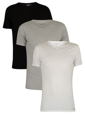 Tommy Hilfiger 3 Pack Premium Essentials V-Neck T-Shirts - Black/Grey Heather/White