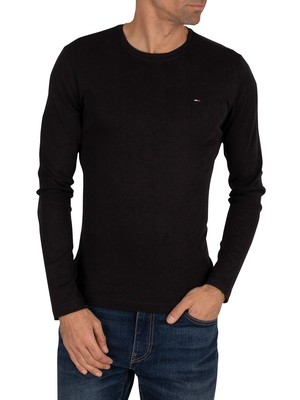 Tommy Jeans Longsleeved Slim Fit T-Shirt - Tommy Black