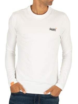 Superdry Vintage Embroidery Longsleeved T-Shirt - Optic White