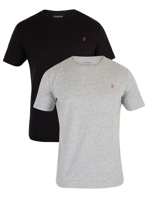 Farah Vintage 2 Pack Pinehurst T-Shirt - Black/Light Grey Melange