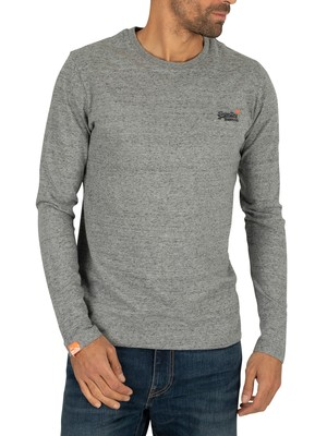 Superdry Longsleeved Orange Label Vintage Embroidery T-Shirt - Flint Steel Grit