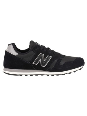 New Balance 373 Suede Trainers - Black/Grey