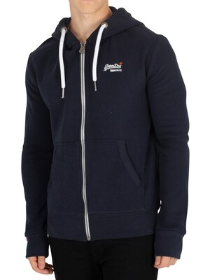 Superdry Orange Label Zip Hoodie - Eclipse Navy