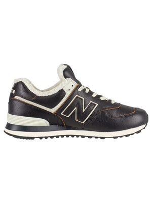 New Balance 574 Leather Sherpa Trainers - Black/White Munsell