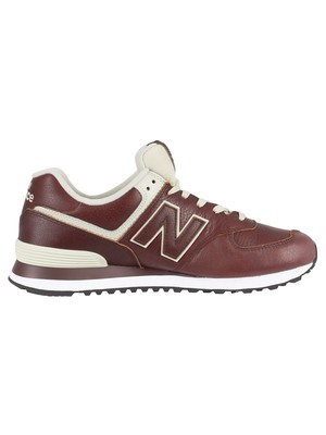 New Balance 574 Leather Trainers - Cabernet/White Munsell