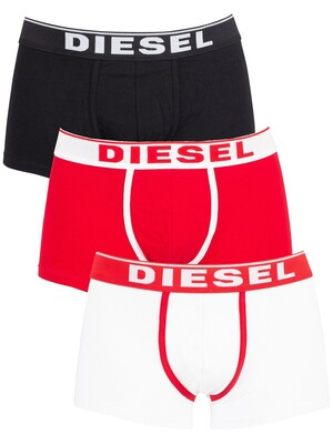 Diesel 3 Pack Fresh & Bright Trunks - White/Red/Black