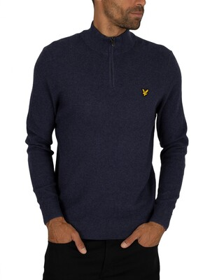 Lyle & Scott Moss Stitch 1/4 Zip Jumper - Dark Navy Marl