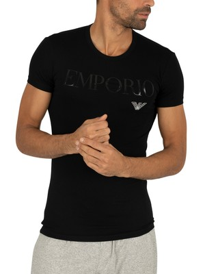 Emporio Armani Stretch Cotton Crew Lounge T-Shirt - Black