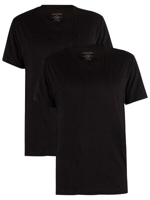 Calvin Klein 2 Pack Cotton T-Shirts - Black/Black