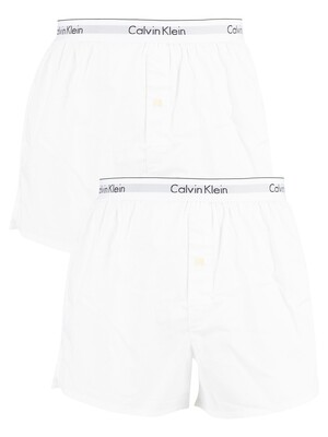 Calvin Klein 2 Pack Modern Cotton Stretch Trunks - White/White