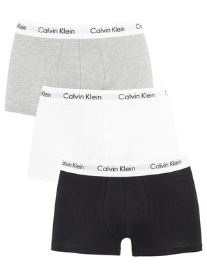 Calvin Klein 3 Pack Low Rise Trunks - Black/White/Grey Heather
