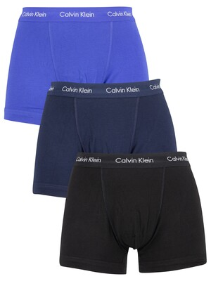 Calvin Klein 3 Pack Trunks - Black/Blue Shadow/Cobalt Water