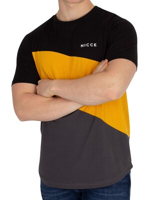 Nicce London Canyon T-Shirt - Black/Sunrise Yellow/Coal