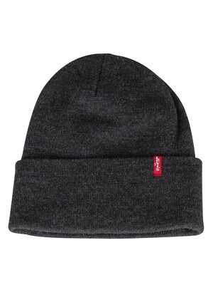Levi's Slouchy Red Tab Beanie - Dark Grey