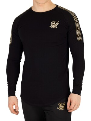 Sik Silk Cartel Longsleeved Gym T-Shirt - Black