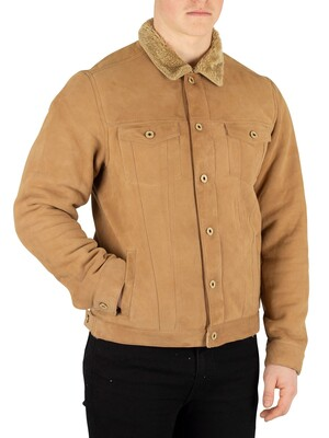 Scotch & Soda Suede Trucker Jacket - Brown