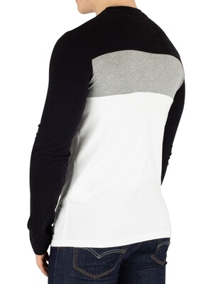 Superdry Applique Colour Block Longsleeved T-Shirt - Jet Black