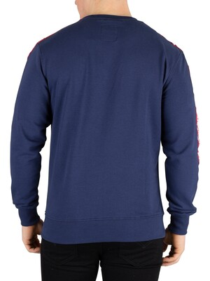 Alpha Industries Remove Before Flying Tape Sweatshirt - New Navy