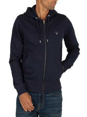 GANT Original Full Zip Hoodie - Evening Blue