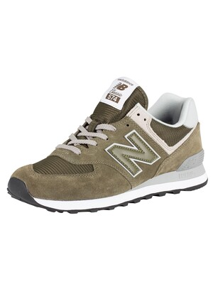 New Balance 574 Suede Trainers - Green