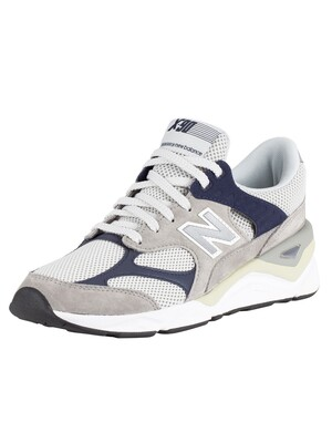 New Balance X-90 Suede Trainers - Grey/Navy
