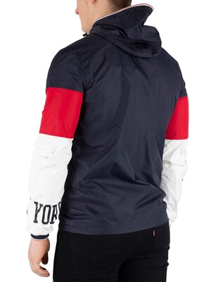 Schott Logo Windcheater Jacket - Navy/Red/Off White