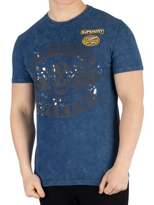 Superdry Black Letter T-Shirt - Skate Navy