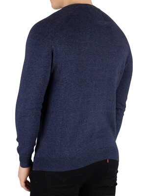Superdry Orange Label Cotton Crew Knit - Brea Blue Grindle
